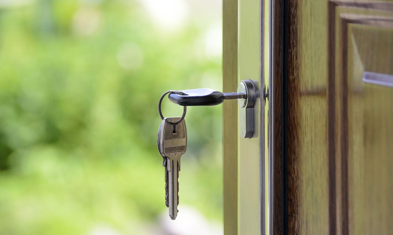 equity release - keys in door lock door is open